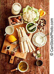 Cooking ingredients for a tasty vegetarian meal