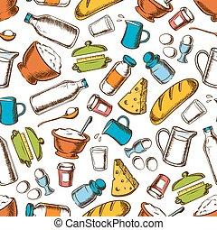 Cooking ingredients seamless pattern background