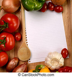 Cooking ingredients with a note paper on a wooden background