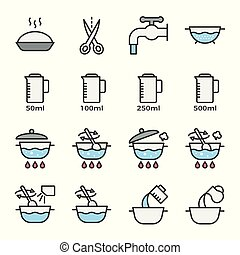 cooking instruction icon filled outline editable stroke
