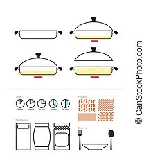 Cooking instruction in roasting pan. Set to manual on preparation. Includes packaging and products: pasta and shrimp, rice and rigatony. Infographics Instructions cooking meal. Vector illustration