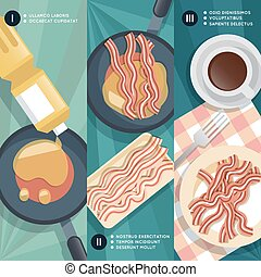 Cooking instruction of frying bacon. Vector illustration