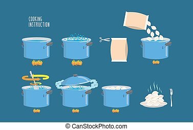 Cooking instructions. Infographics of cooking dumplings. Vector icons set.