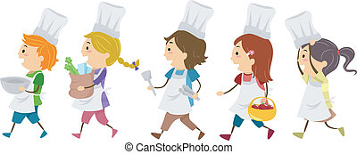 Cooking Kids - Illustration Featuring Kids in a Cooking...