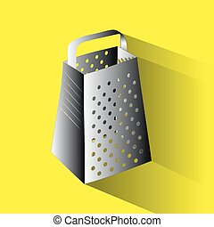 Cooking kitchen grater icon in flat style isolated on white background.