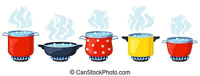 Cooking kitchen pots. Cartoon boiling saucepan, cooking soup boiling on gas stove. Boiling steamed water vector illustration set