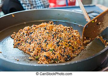 cooking Korean local food