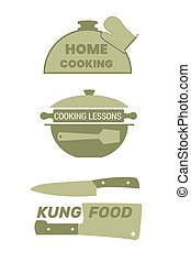 Cooking label set for home food.
