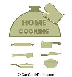 Cooking label set with kitchen utensils.