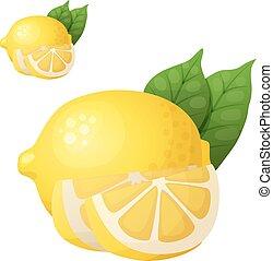 cooking., lemon., ingredienti, cibo, serie, bevanda, isolato, fondo., vettore, bianco, cartone animato, icona