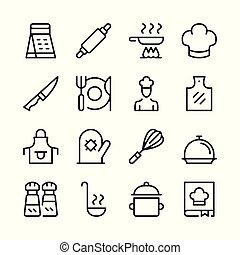 Cooking line icons set. Kitchen utensils, cook food, recipe. Modern graphic design concepts, simple outline elements collection. Vector line icons