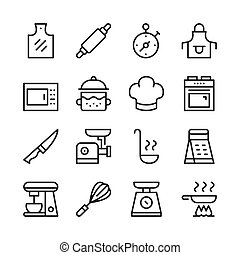 Cooking line icons set. Modern graphic design concepts, simple outline elements collection. Vector line icons