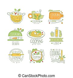 Cooking logo original design, cooking with love badge for restaurant or home kitchen hand drawn vector Illustration