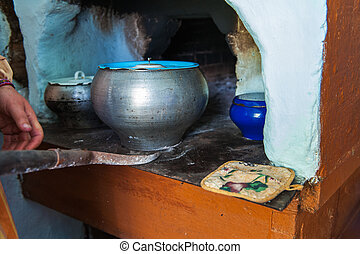cooking meals in a Russian stove