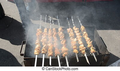 cooking meat in the fair