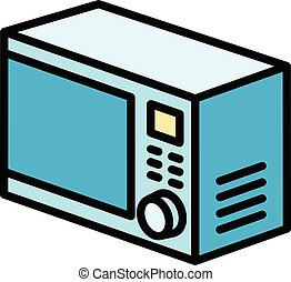 Cooking microwave icon, outline style - Cooking microwave ...