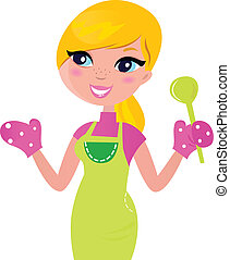 Cute blond woman cooking healthy food. Vector Illustration.