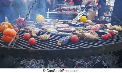 Cooking of Meat and Vegetables on the Barbecue