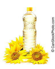 Cooking oil in a plastic bottle with sunflower