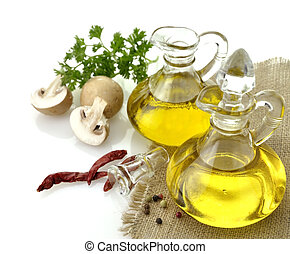 Cooking Oil - Olive Oil Spices And Mushrooms On White...