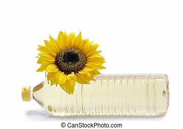 Cooking oil - Sunflower with cooking oil bottle on white ...