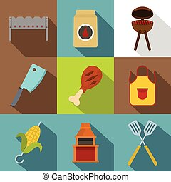 Cooking on fire icon set, flat style