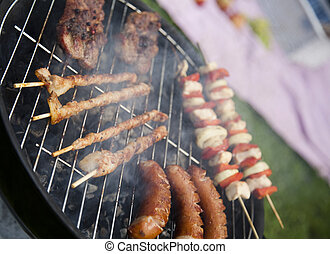 Cooking on the barbecue grill, bright colorful vivid theme