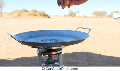 cooking outdoor in the desert