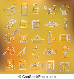 cooking outline icons