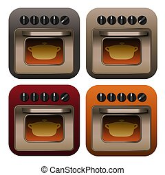 This illustration features four different colored cooking icons of stainless steel ovens with casserole pots cooking inside of them.