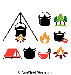 Cooking over a fire, campfire cooking, hike vector color icons set - food, aventure, travel idea