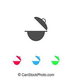 Cooking pan icon flat.