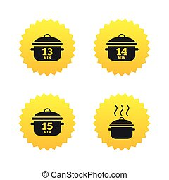 Cooking pan icons. Boil fifteen minutes.