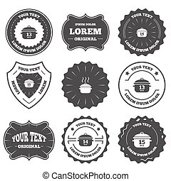 Cooking pan icons. Boil fifteen minutes. - Vintage emblems,...