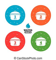 Cooking pan icons. Boil one, four minutes. - Water drops on...