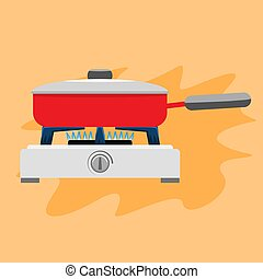 Cooking pan on gas stove. Flat and solid color vector illustration.