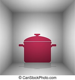 Cooking pan sign. Bordo icon with shadow in the room.