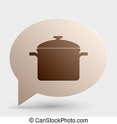 Cooking pan sign. Brown gradient icon on bubble with shadow.
