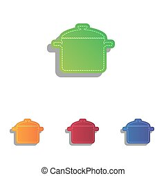 Cooking pan sign. Colorfull applique icons set.