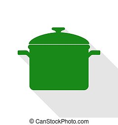 Cooking pan sign. Green icon with flat style shadow path.