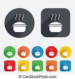 Cooking pan sign icon. Boil or stew food symbol. Circles and...