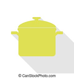 Cooking pan sign. Pear icon with flat style shadow path.
