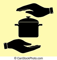 Save or protect symbol by hands. - Cooking pan sign. Save or...