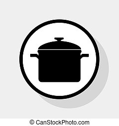 Cooking pan sign. Vector. Flat black icon in white circle with shadow at gray background.