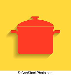 Cooking pan sign. Vector. Red icon with soft shadow on golden background.
