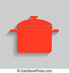 Cooking pan sign. Vector. Red icon with soft shadow on gray background.