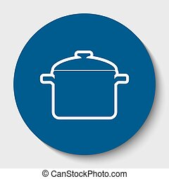 Cooking pan sign. Vector. White contour icon in dark cerulean circle at white background. Isolated.