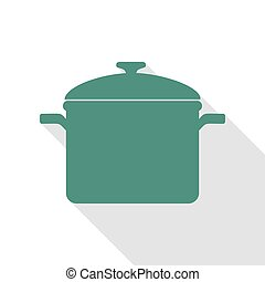 Cooking pan sign. Veridian icon with flat style shadow path.