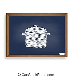 Cooking pan sign. White chalk icon on blue school board with...