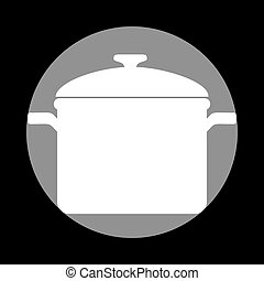 Cooking pan sign. White icon in gray circle at black background.